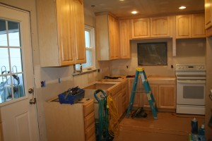 Here is a picture of a partly completed kitchen remodel.